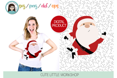 Santa Claus Jumping svg, dxf, png, eps