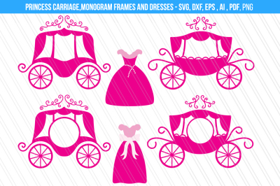 Princess carriage/ cindrella dress svg/dxf cut files