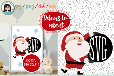 Santa Claus Monogram svg, dxf, png, eps