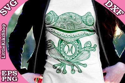 Yoga Frog Monogram Svg, MANDALA FROG SVG, Yoga Svg,Funny Frog Svg