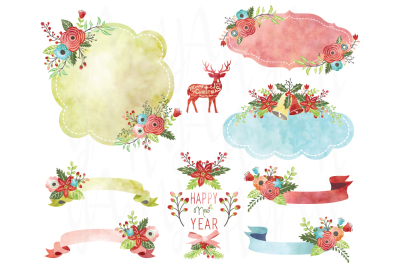Watercolor Christmas Floral Frame