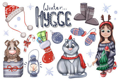 Winter hygge hand drawn set