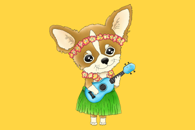 Hawaiian Chihuahua playing a Ukulele | PNG/JPEG Clip Art Illustration