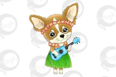 Hawaiian Chihuahua playing a Ukulele   PNG/JPEG Clip Art Illustration
