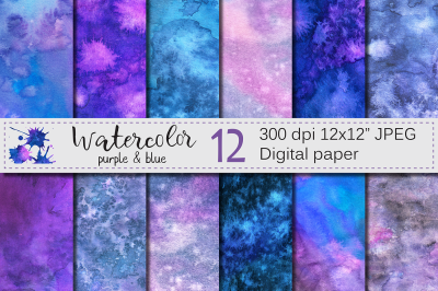 Purple and Blue Watercolor Digital paper / Hanpainted abstract texture
