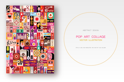 Musical Pop Art collage vector illustration
