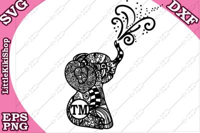 Baby Elephant Monogram Svg, MANDALA ELEPHANT SVG
