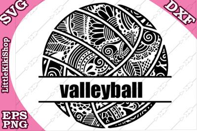 Volleyball Monogram Svg, MANDALA VALLEYBALL, Zentangle Svg