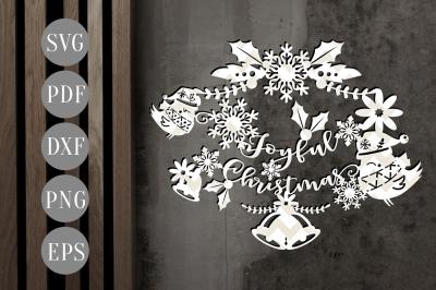 Download Joyful Christmas Papercut Xmas Ornament Cut Template Winter Dxf Pdf Free Best Download Svg Design Innovation