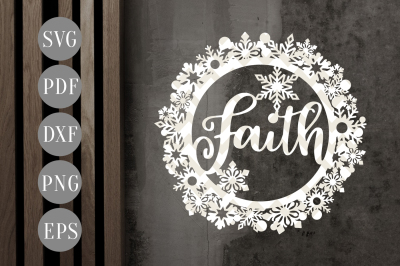 Faith Christmas Bauble SVG, Xmas Ornament Papercut Template, DXF, PDF