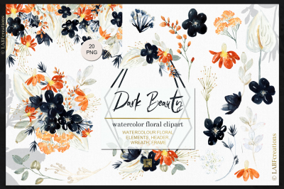 Dark Beauty. Black Watercolor flower illustrations.