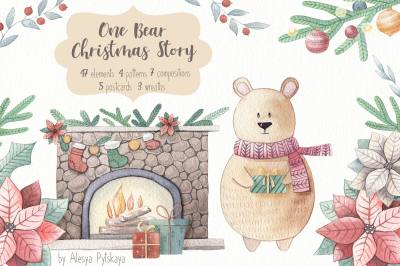 One Bear Christmas Story-Watercolor set