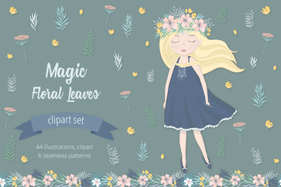 Magic Floral Leaves Illustration Set