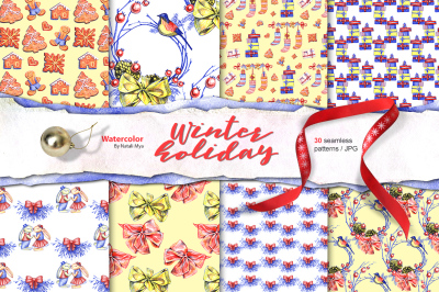 Winter holiday digital papers