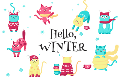 Cute cats love the winter clipart