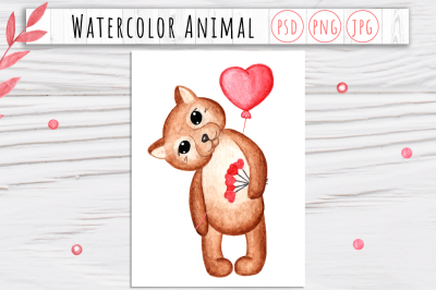 Watercolor Valentine Animal