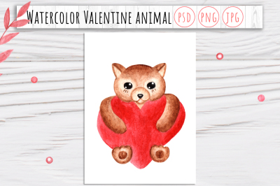 Watercolor Valentine Animal 2