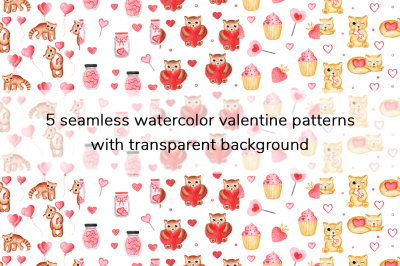 Watercolor Valentine Patterns