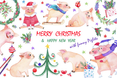 Holiday with funny piglets