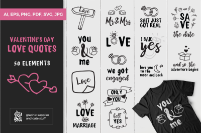 Valentine's Day Love Quotes SVG