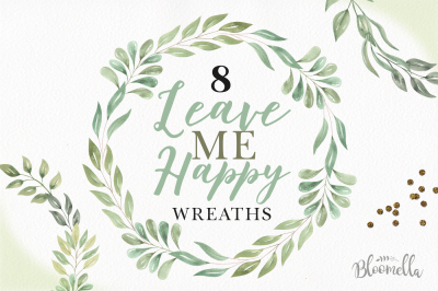Leave Me Happy - 8 Leaves Wreaths Borders Green Foliage Frames Clipart