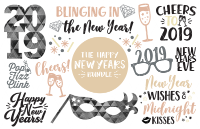 New Year's Bundle 2019 SVG DXF PNG