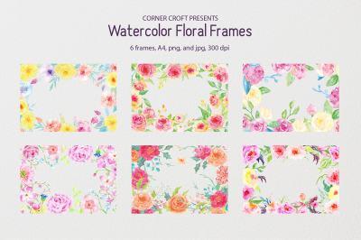 "Watercolor floral frames - 8"" x 11.5"" - A4"