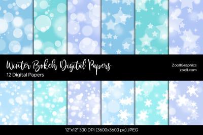 Winter Bokeh Digital Papers
