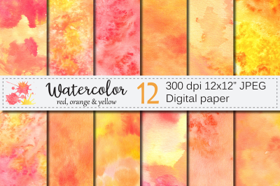 Red Orange Yellow Watercolor Digital paper / Hanpainted textures