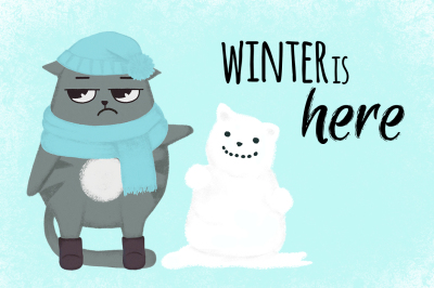 Winter is here. Cat and snowman