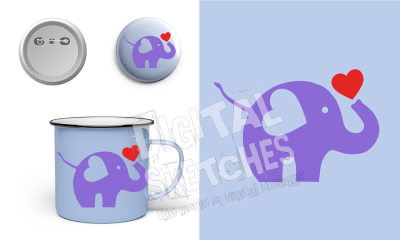 Elephant Cut File Heart Animals Vector Silhouette .SVG .DXF