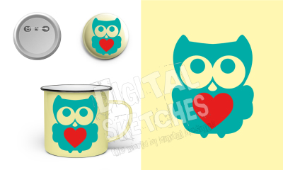 Owl Heart Cut File Vector Silhouette