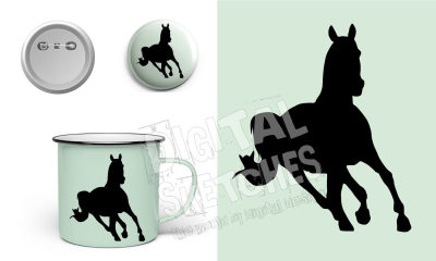 Horse Cut File Vector Silhouette.SVG .DXF