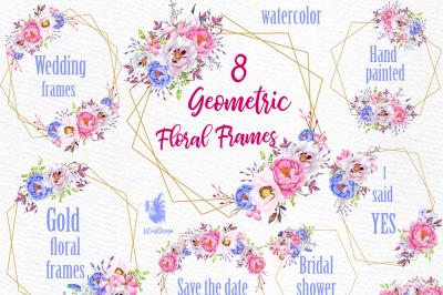 Geometric Frames clipart, FLORAL FRAMES, Wedding Frames