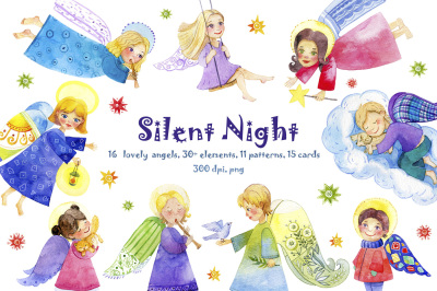 Silent night with cute Angels