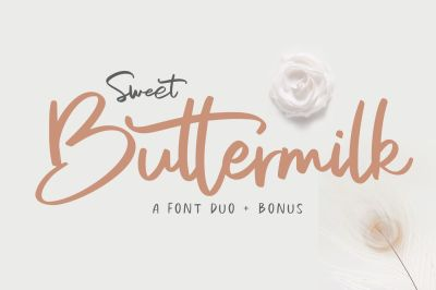 Sweet Buttermilk - Font Duo + Bonus