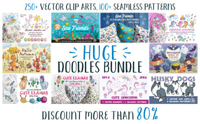 Huge doodles bundle. Vector clip arts and seamless patterns