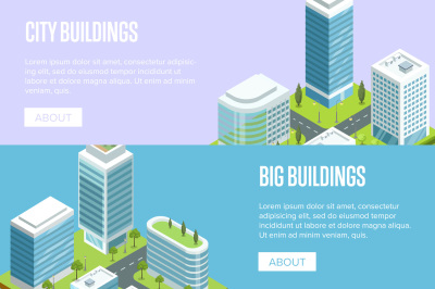 Modern cityscape with big buildings isometric banners.