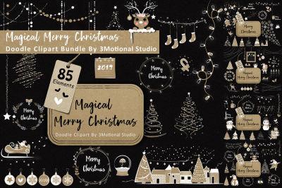 85 Magical Merry Christmas Doodle Clipart Bundle