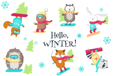 Cute snowboarding animals set