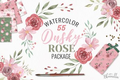 Dusky Rose Pink Red Watercolor HUGE Package Flower Floral Patterns Set