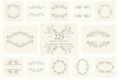 Hand drawn floral frames. Big bundle.