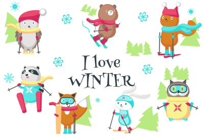 Cute animals skiing clipart pack