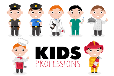 Children characters in professional uniform