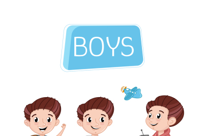 Happy boys characters outdoor activity.