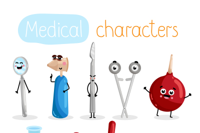 Funny medicine equipment cartoon characters.