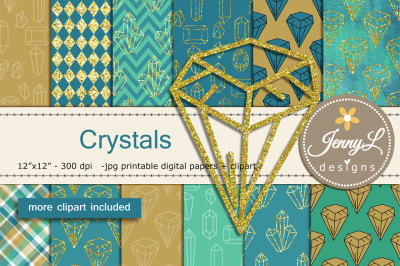 Crystal Gems Digital Papers and Gemstones Clipart