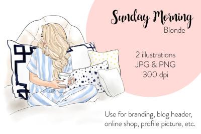 Watercolor FashionIllustration -Sunday Morning - Blonde