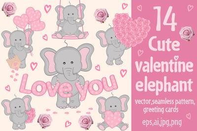 cute valentine elephant