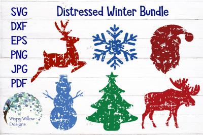 Distressed Grunge Winter Christmas SVG Bundle